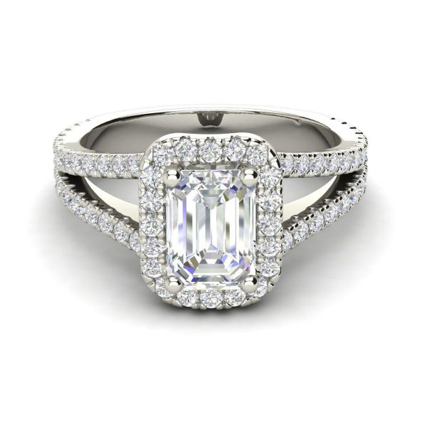 Pave Halo 1.9 Carat Emerald Cut Diamond Engagement Ring