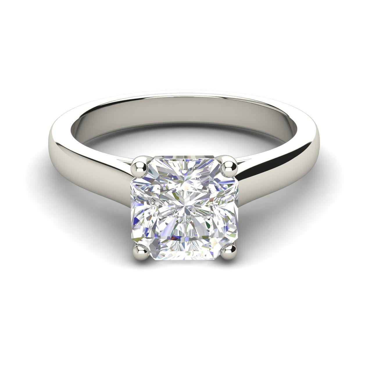 Solitaire 1 Carat Cushion Cut Diamond Engagement Ring