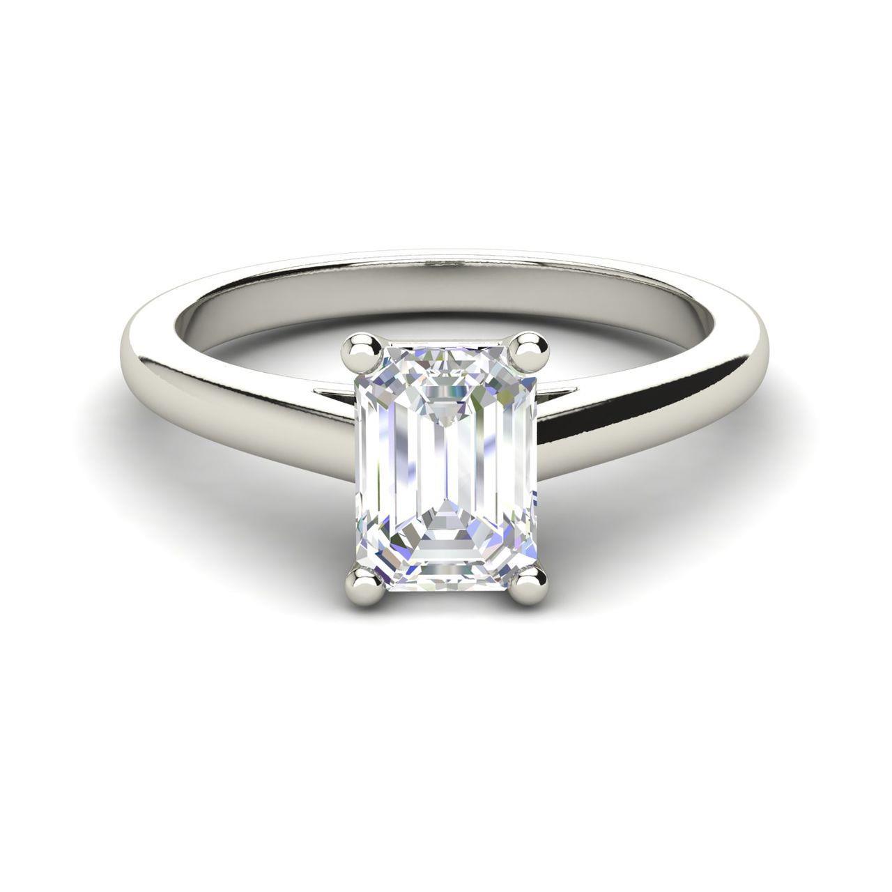 Solitaire 1 Carat Emerald Cut Diamond Engagement Ring