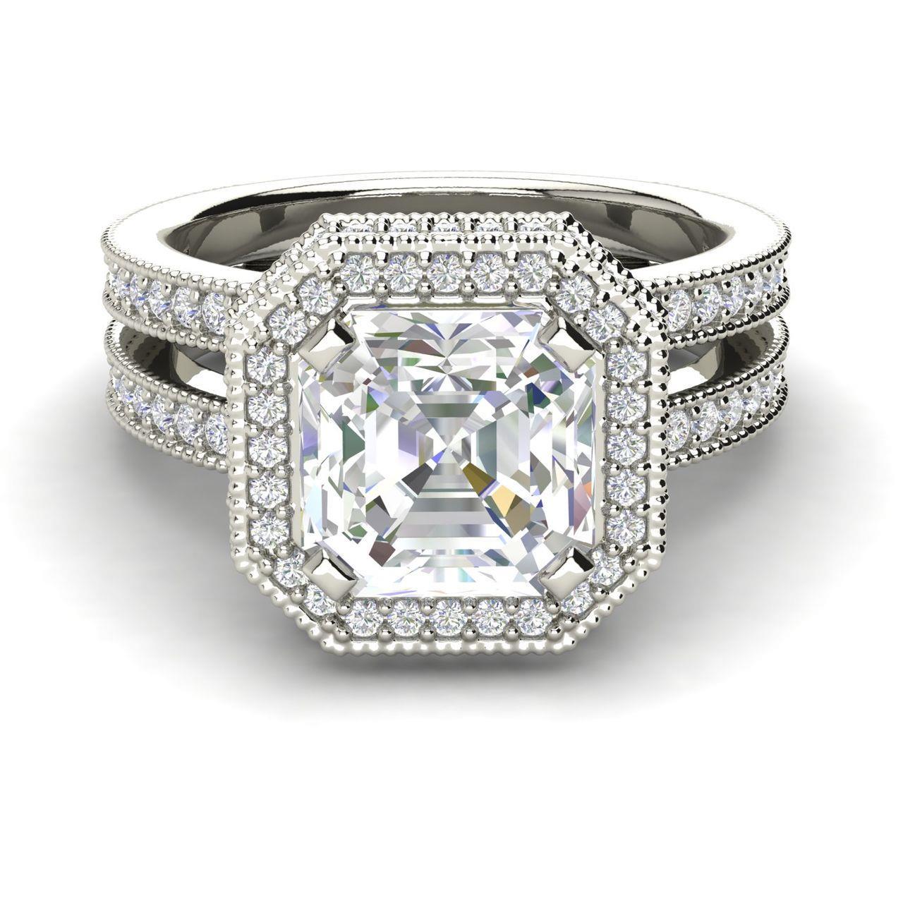 Split Shank Pave 2.25 Carat Asscher Cut Diamond Engagement Ring (3)