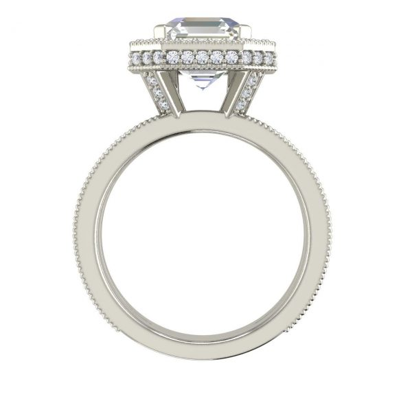 Split Shank Pave 2.25 Carat Asscher Cut Diamond Engagement Ring