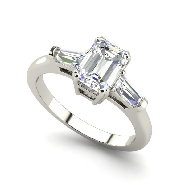 Baguette Accents 1.5 Ct Emerald Cut Diamond Engagement Ring