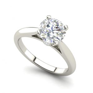Cathedral Solitaire 1.05 Ct Round Cut Diamond Engagement Ring
