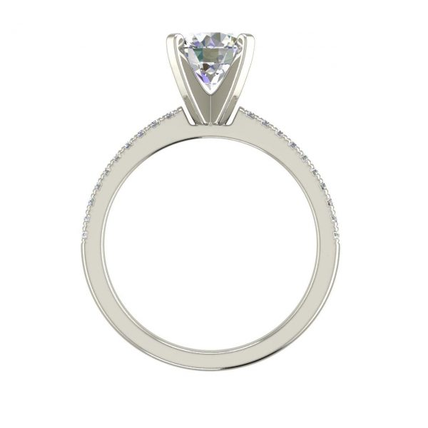 French Pave 0.75 Carat Round Cut Diamond Engagement Ring