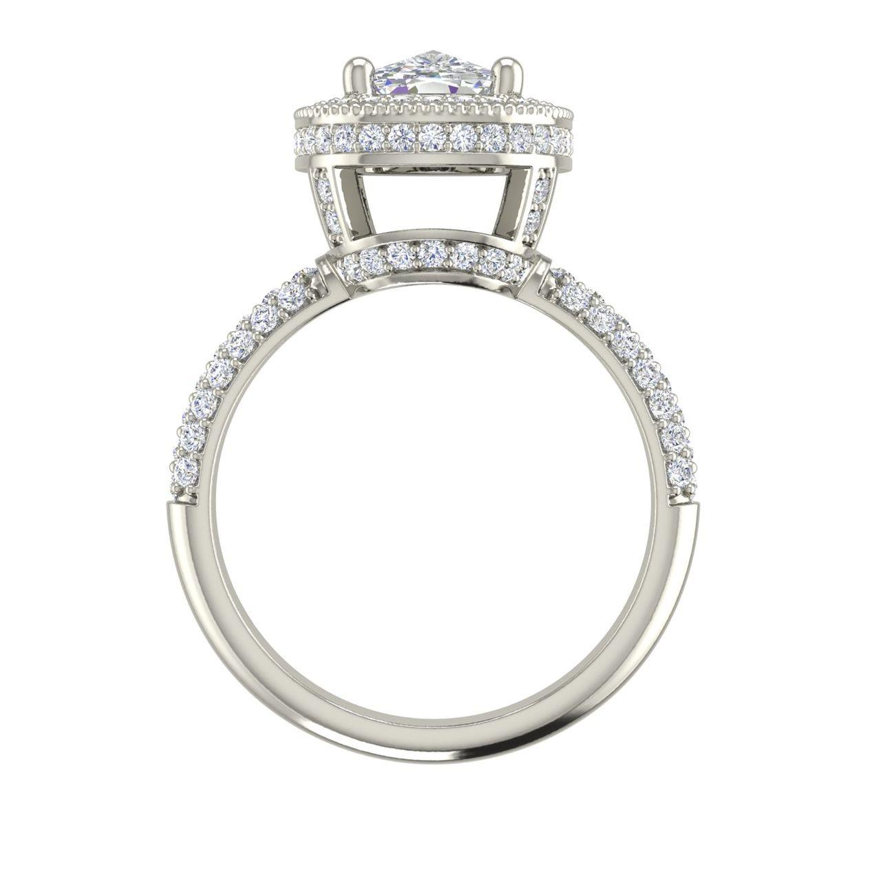 Halo 1.75 Carat Cushion Cut Diamond Engagement Ring