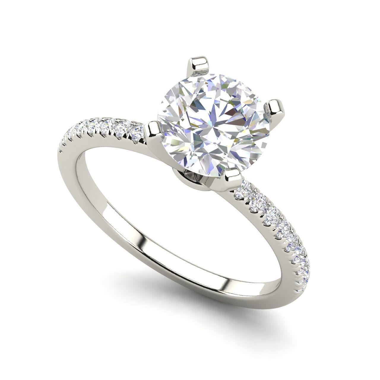 Micropave 1.25 Carat Round Cut Diamond Engagement Ring