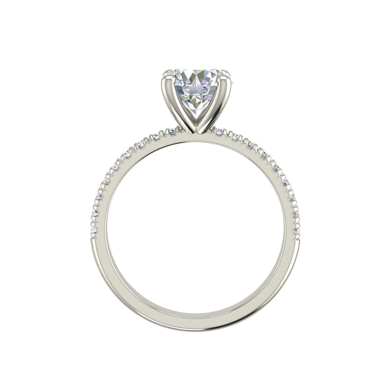 Pave Flush Fit 1.35 Carat Round Cut Diamond Engagement Ring 1
