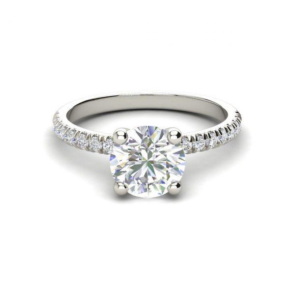 Pave Flush Fit 1.35 Carat Round Cut Diamond Engagement Ring 2
