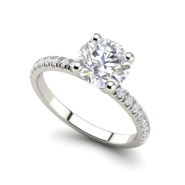 Pave Flush Fit 1.35 Carat Round Cut Diamond Engagement Ring