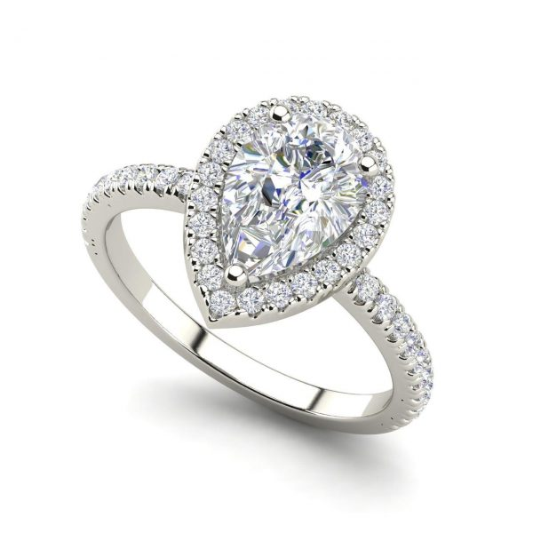 Pave Halo 1.7 Carat Pear Cut Diamond Engagement Ring