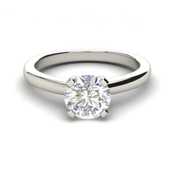 Solitaire 1 Carat Round Cut Diamond Engagement Ring 2