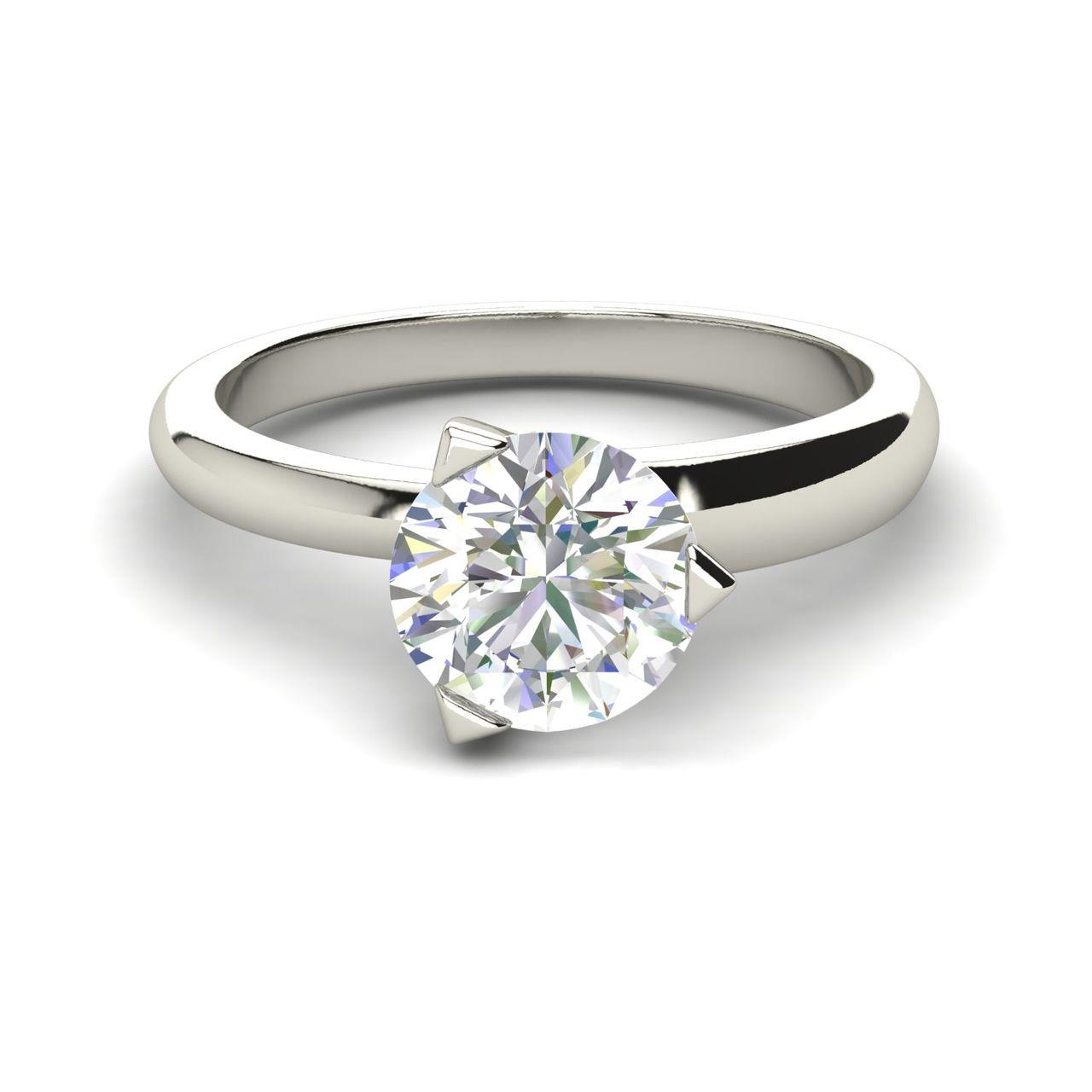 Solitaire 1 Carat Round Cut Diamond Engagement Ring 4 scaled