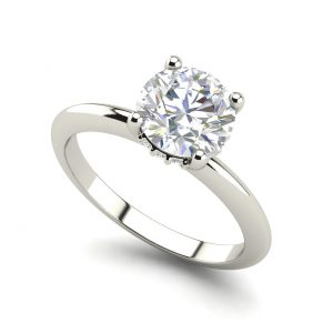 Solitaire 1.3 Carat Round Cut Diamond Engagement Ring