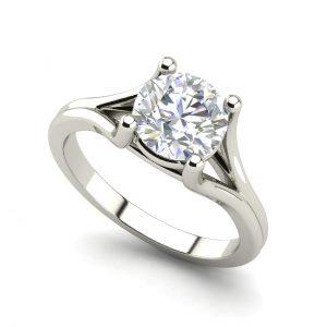 Split Shank 1 Carat Round Cut Diamond Engagement Ring