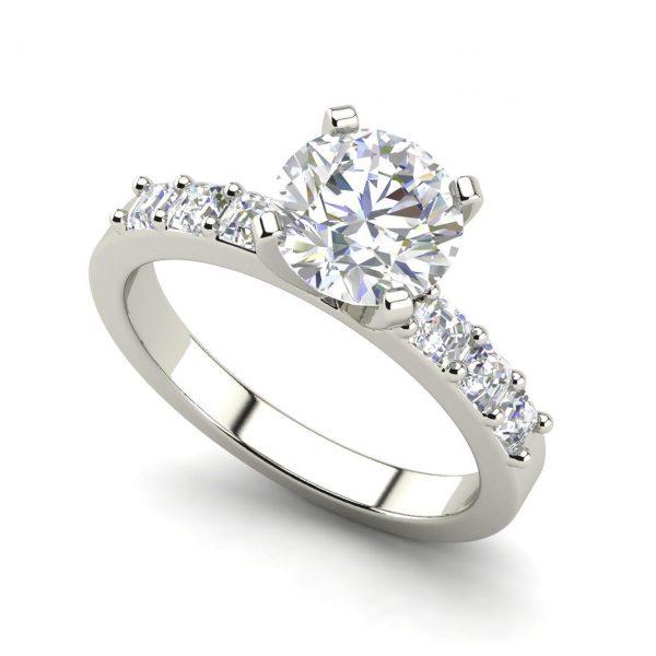 Asscher Accents 1 Carat Round Cut Diamond Engagement Ring