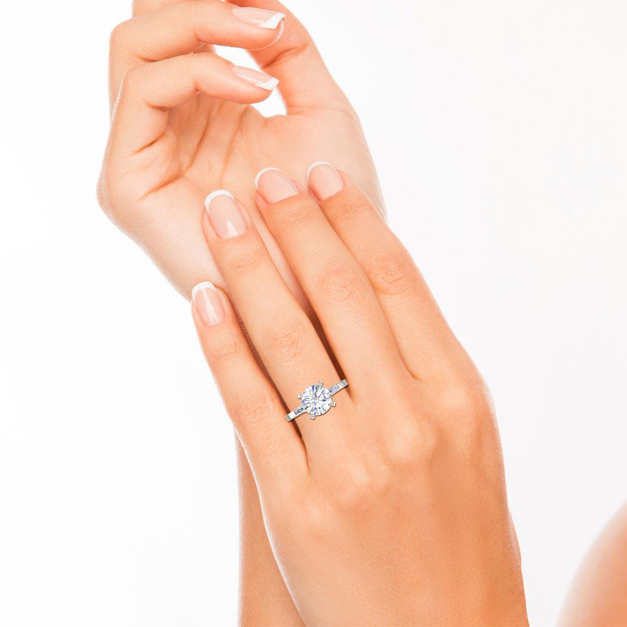 Baguette Accents 0.8 Carat Round Cut Diamond Engagement Ring
