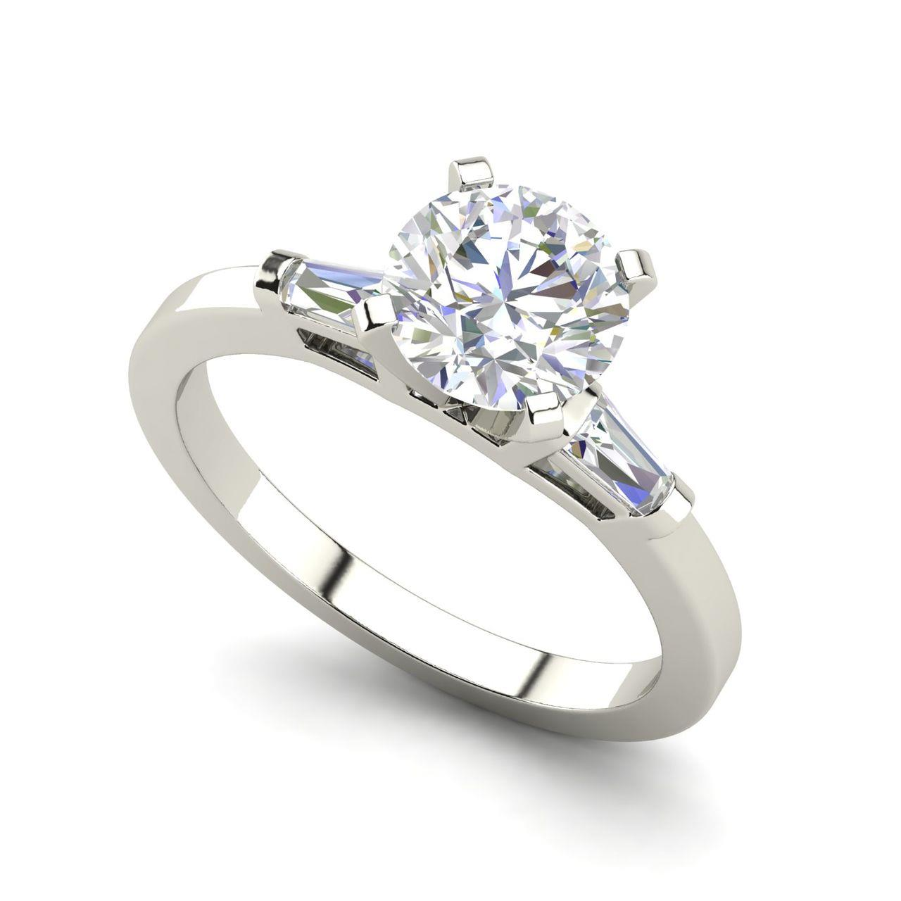 Baguette Accents 0.8 Carat Round Cut Diamond Engagement Ring