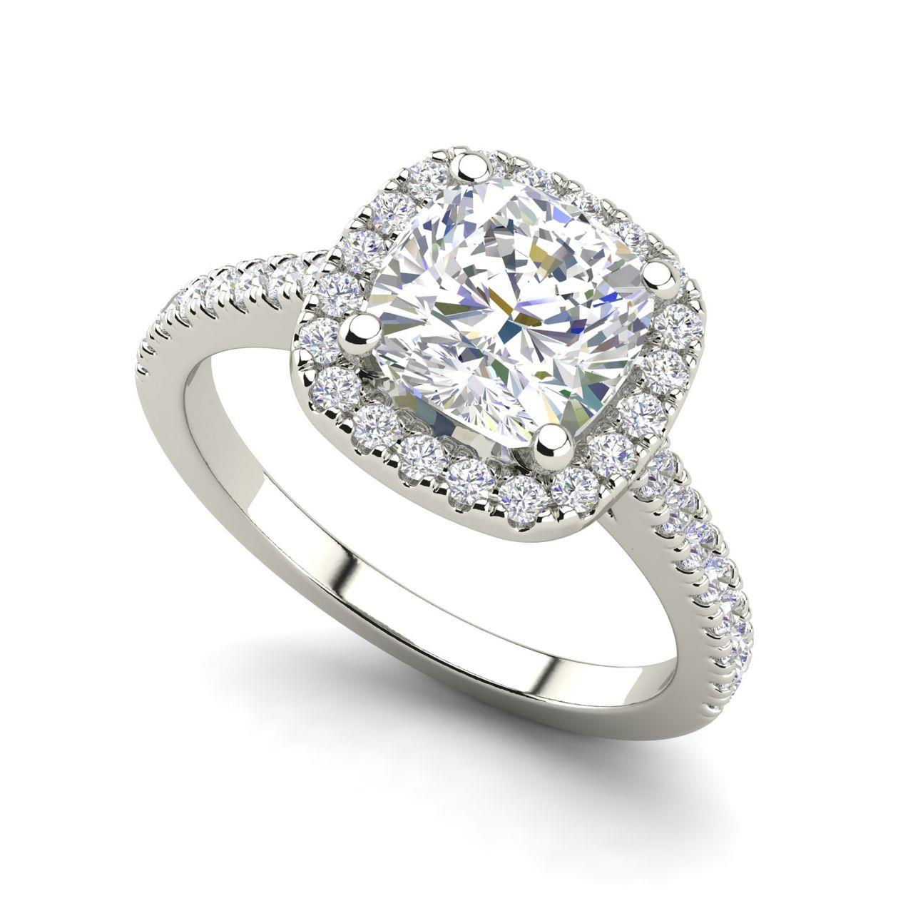 Halo Pave 0.95 Carat Round Cut Diamond Engagement Ring