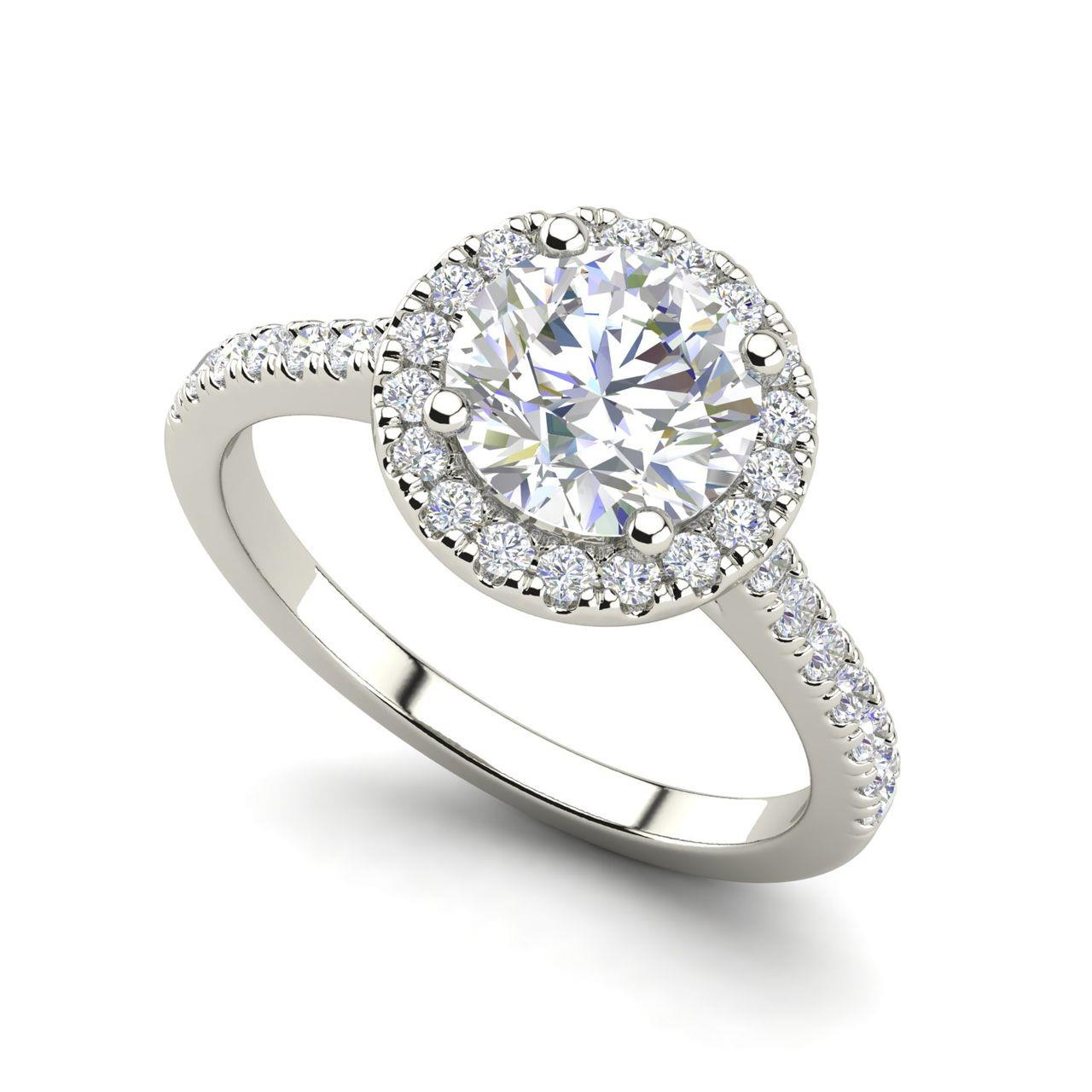 Pave Halo 0.95 Carat Round Cut Diamond Engagement Ring