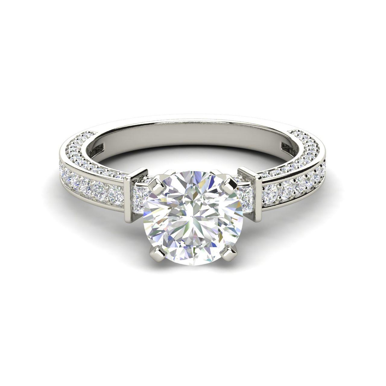 Three Sided Pave 1.35 Carat Round Cut Diamond Engagement Ring
