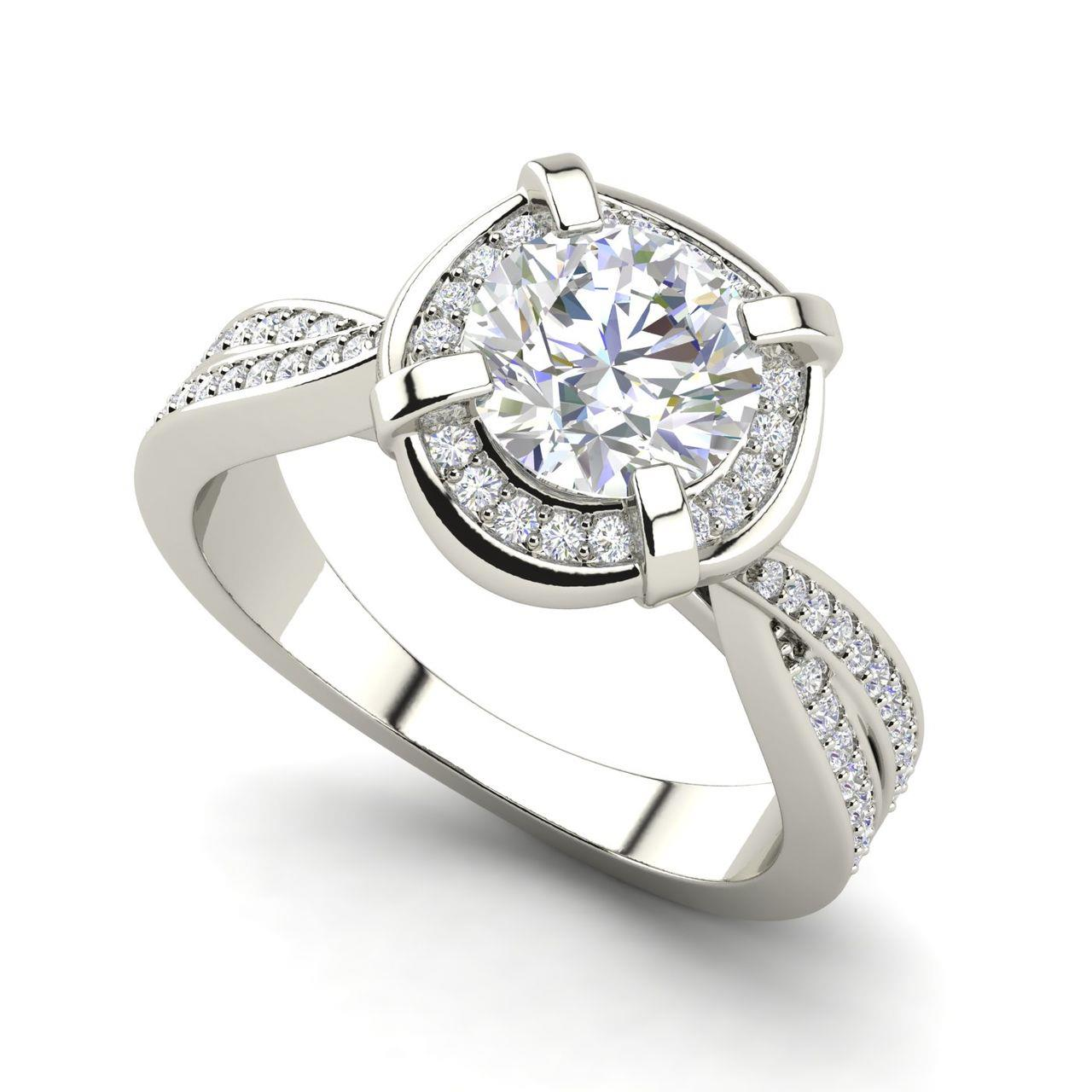 Twisted Halo 1.65 Carat Round Cut Diamond Engagement Ring