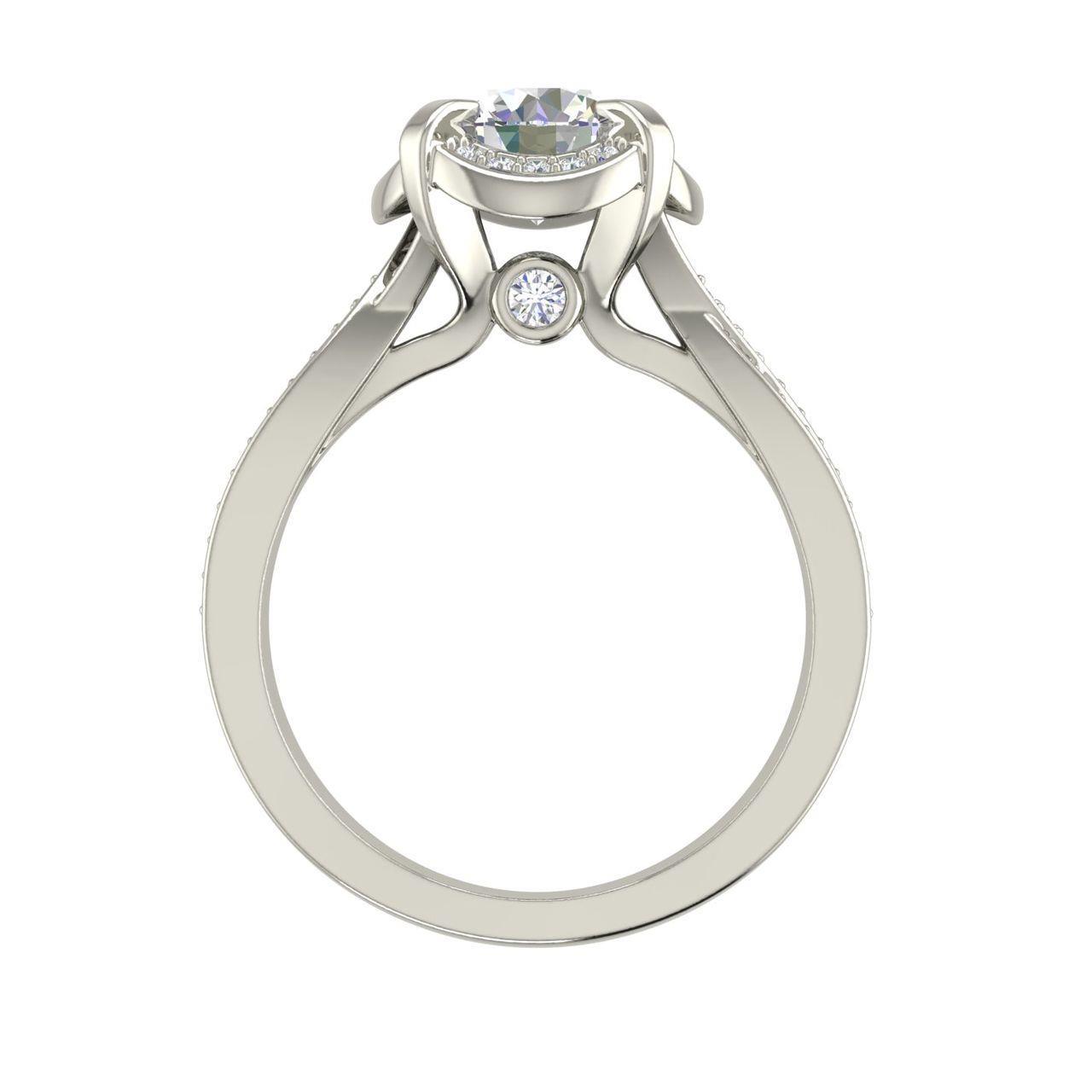 Twisted Halo 1.65 Carat Round Cut Diamond Engagement Ring