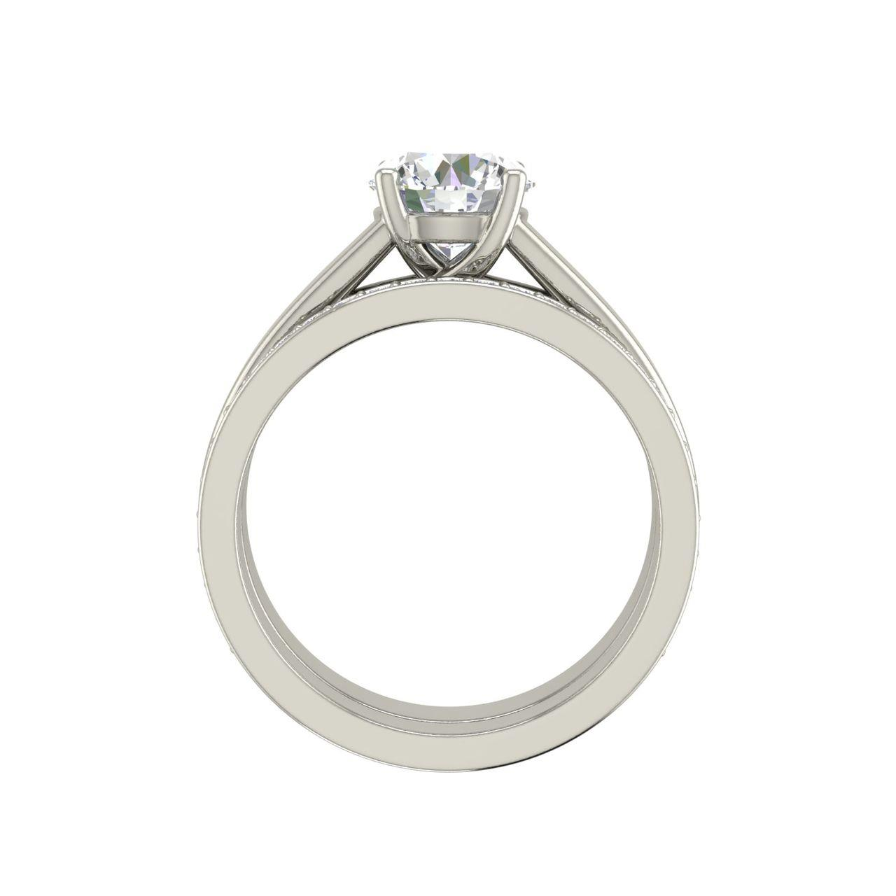 Channel Set 1.25 Carat Round Cut Diamond Engagement Ring