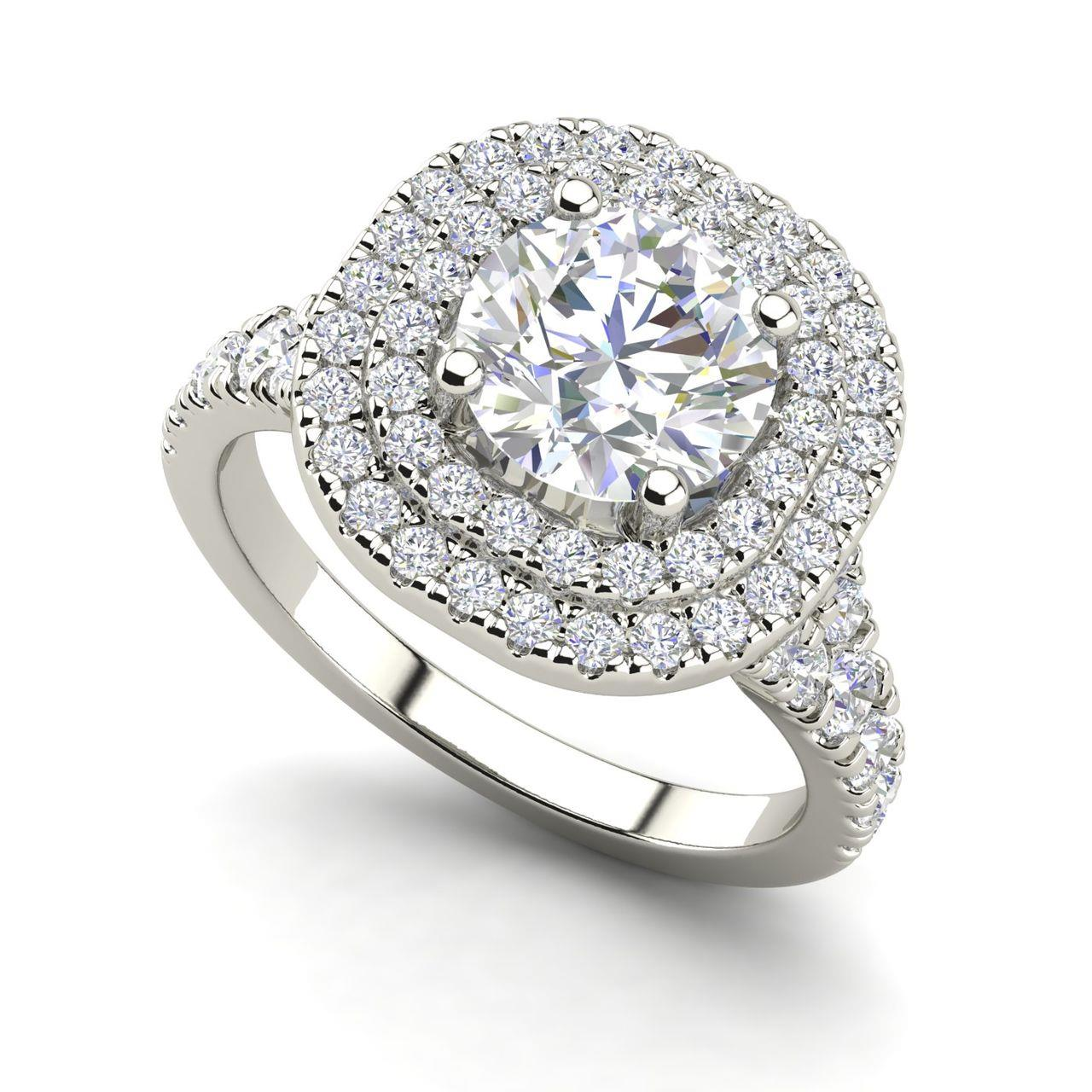 Double Halo 1.25 Carat Round Cut Diamond Engagement Ring