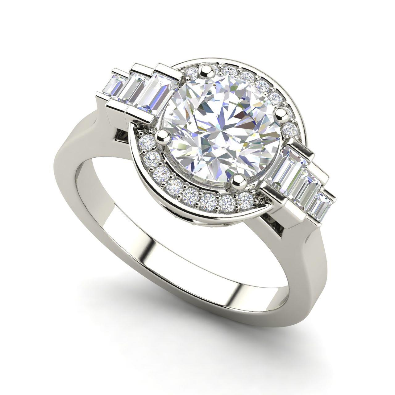 Halo Solitaire 0.8 Carat Round Cut Diamond Engagement Ring