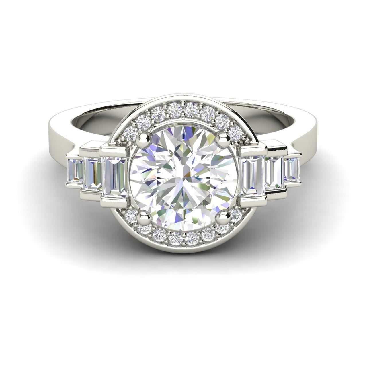 Halo Solitaire 0.8 Carat Round Cut Diamond Engagement Ring