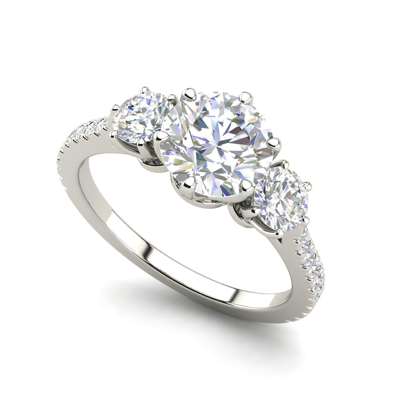 Pave 3 Stone 1.25 Carat Round Cut Diamond Engagement Ring