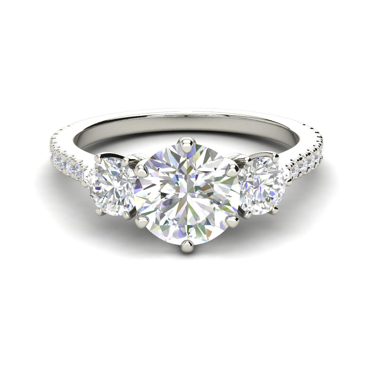 Pave 3 Stone 1.25 Carat Round Cut Diamond Engagement Ring