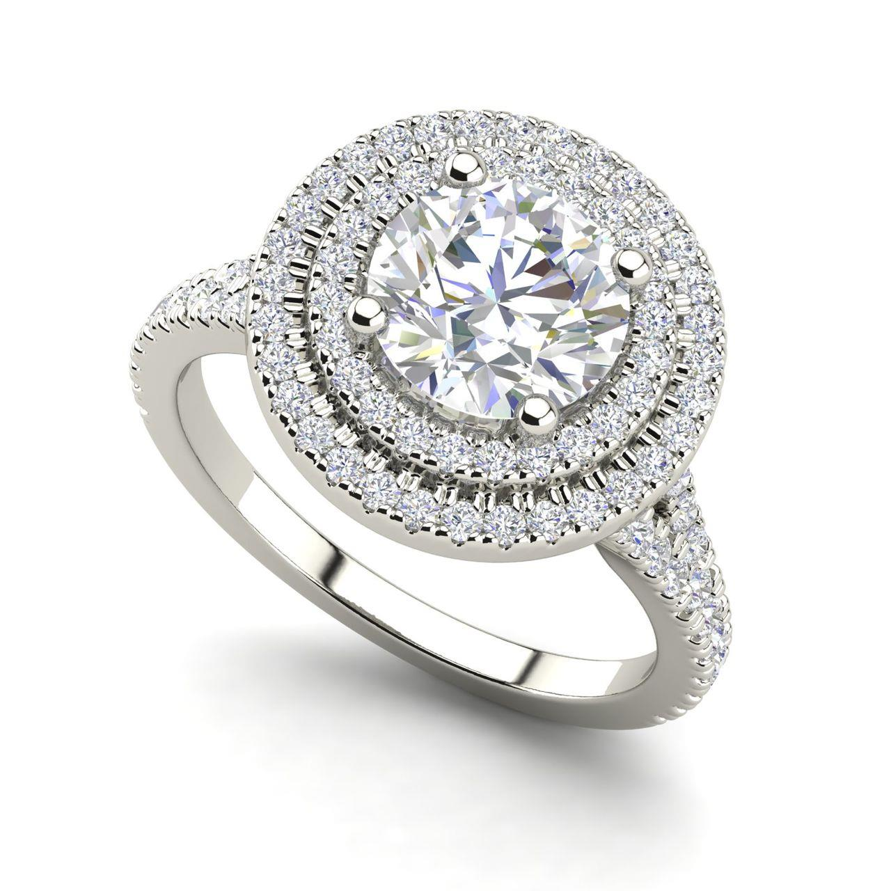 Double Halo 1.9 Carat Round Cut Diamond Engagement Ring
