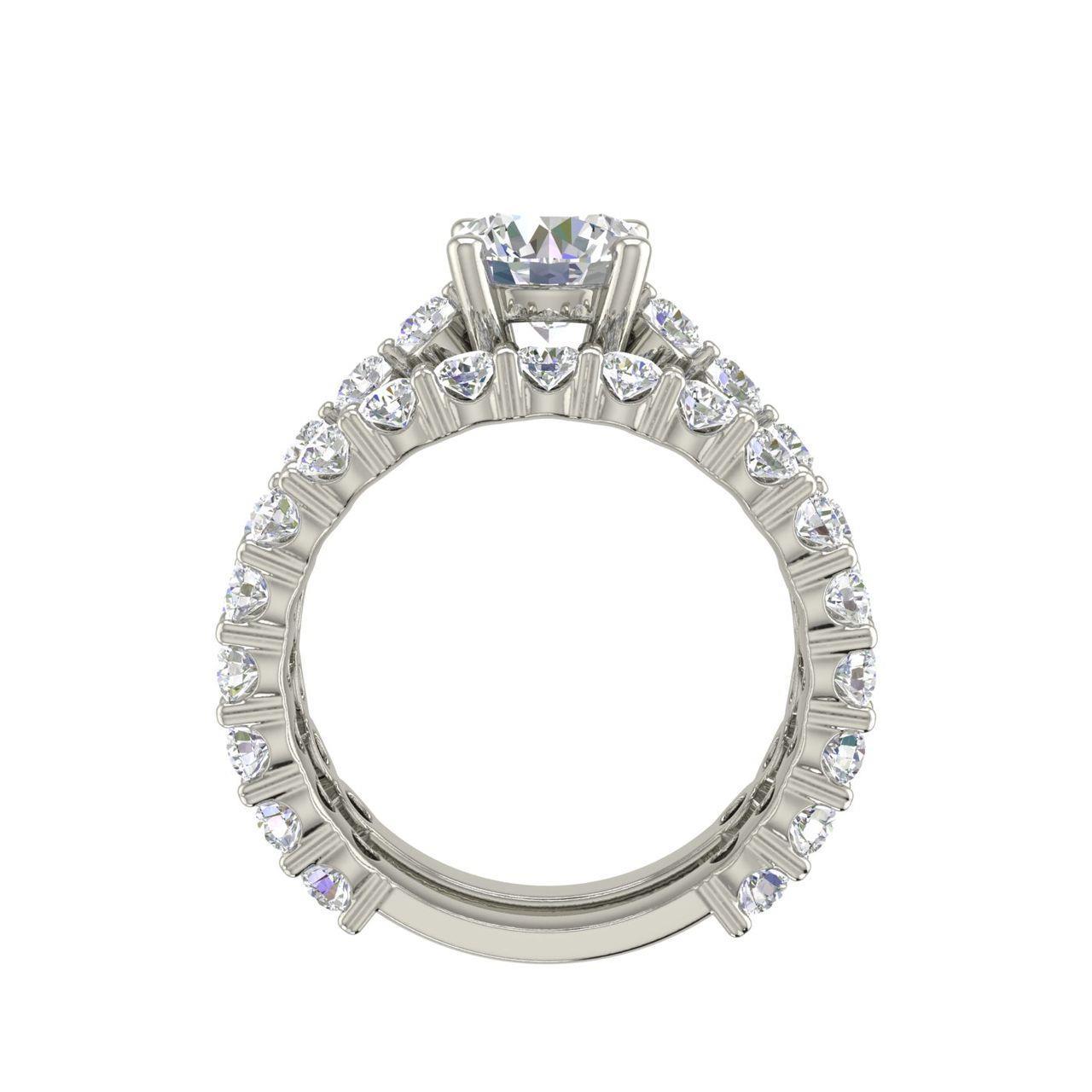 Set 2 Carat Round Cut Diamond Engagement Ring